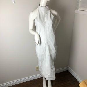Genuine Leather White Halter Dress Midi